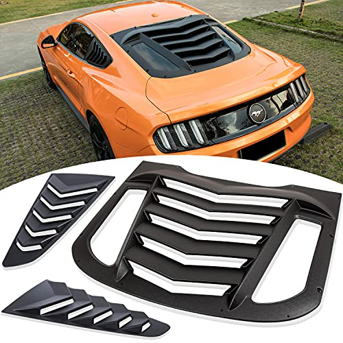 Rear and Side Windshield Window Louvers Fit for Ford Mustang 2015 2016 2017 2018 2019 2020 Matte Black ABS