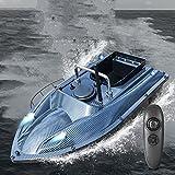 Barco de Cebo con buscador de Peces de 500 m - Barcos de Pesca con Control Remoto con ecosonda Barco de Cebo Inteligente con luz LED Barco de Cebo de Pesca con Motores Gemelos de 5200 mAh