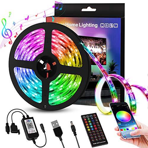 Sooair Tiras LED 5M USB, 150LEDs Tiras LED con Bluetooth y Control Remoto, Luces led Decorativas, Impermeable IP65 RGB LED Strip para Iluminación de TV, Armario, Balcón, Decoración de la Casa