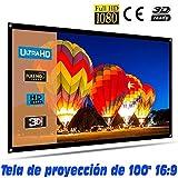Tela de proyección Lux-Screen Formato 16:9 Superficie de 3 Capas Blanco Mate y Borde perimetal Negro, Pantalla para...