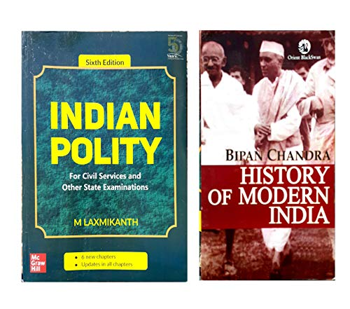 Indian Polity - For Civil Services and Other State Examinations | 6th Edition And History of Modern India ( Set of 2 Books)