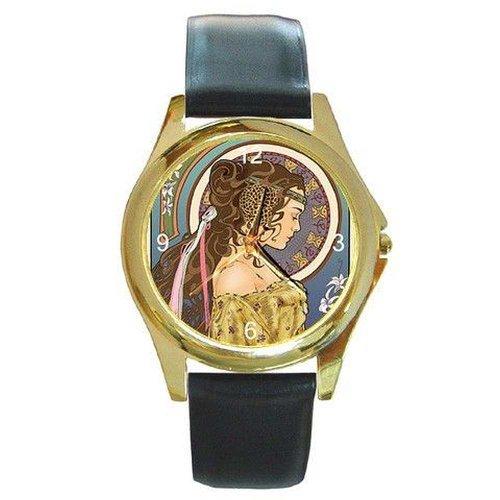 Damen-Armbanduhr im Jugendstil mit Lederband, goldfarben