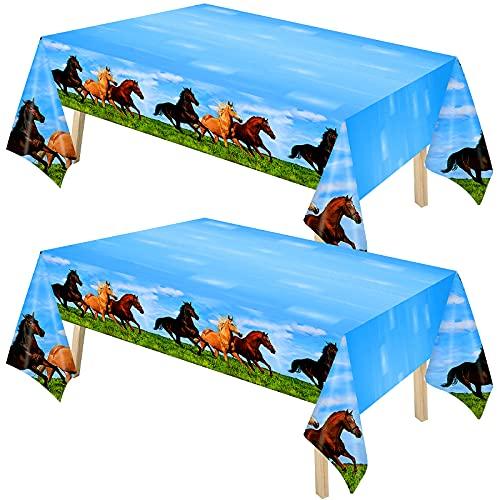 Mantel de Plástico de Caballo Salvaje Cubiertas de Mesa de Fiesta de Caballo de 51 x 87 Pulgadas Decoraciones de Mesa de Mantel con Tema de Caballo para Suministros de Fiesta (2)