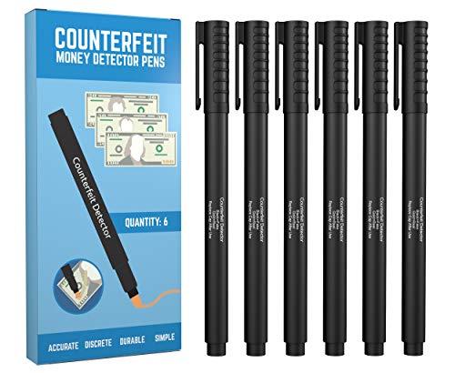 Counterfeit Bill Detector Pen (6 Counterfeit Pens) – Detect Fake Counterfit Bills with False Money Detector Marker
