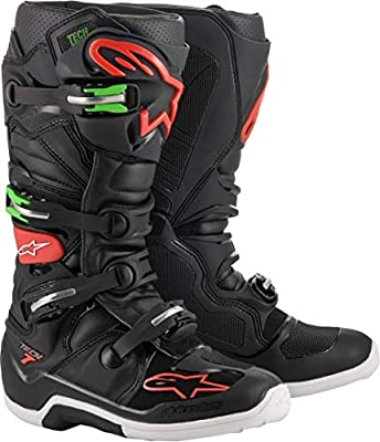 Alpinestars Unisex-Adult Tech 7 Boots Black/Red/Green Sz 09 (Multi, one_size)