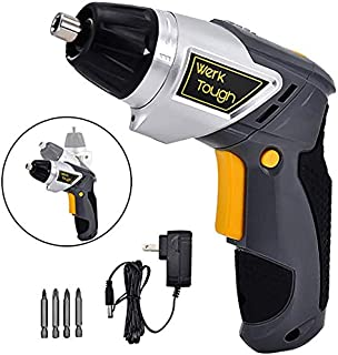 3.6V Cordless Screwdriver Power Screw Guns with Twistable Handle Included Driver Bits With LED Light USB Charger By Uniteco (F08 Electric Screw Driver)