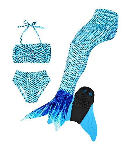 Superstar88 Mädchen Cosplay Kostüm Badebekleidung Meerjungfrau Shell Badeanzug 3pcs Bikini Sets Tolle Geschenksidee ! (150, blue)