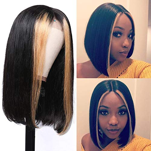 Beauty Forever 13x4 Highlight Straight Bob Lace Front Wig Human Hair Wigs,150% Density Brazilian Ombre Color Pre Plucked with Baby Hair Lace Frontal Wigs for Black Women 12 Inch