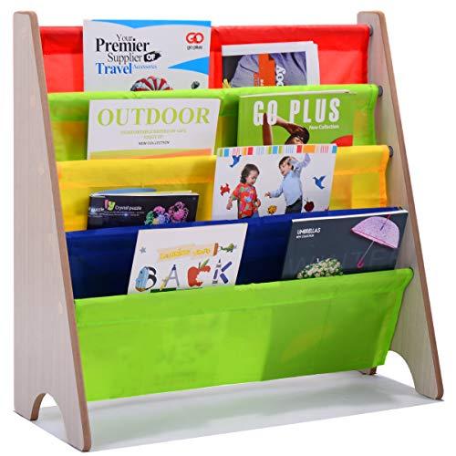 Costway Bibliothèque Enfant en Bois 4 Compartiments Etagère Enfant Rangement 62 x 26 x 60 cm 2 Modèle à Choisir (Modèle B)