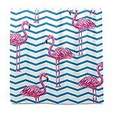 Cortina de ducha MNSRUU con diseño de flamenco y azul azteca con rayas para...