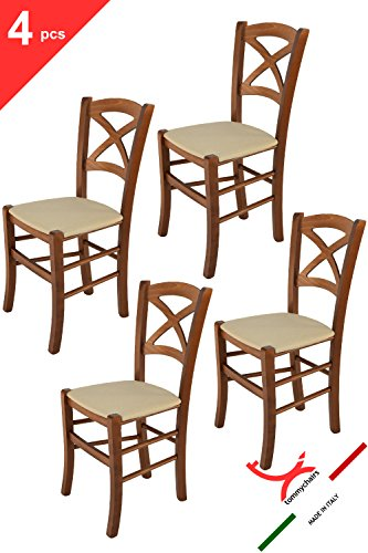 Tommychairs sillas de Design - Set de 4 sillas Modelo Cross para Cocina, Comedor, Bar y Restaurante, con Estructura en Madera Color Nuez y Asiento tapizado en Tejido Color cáñamo