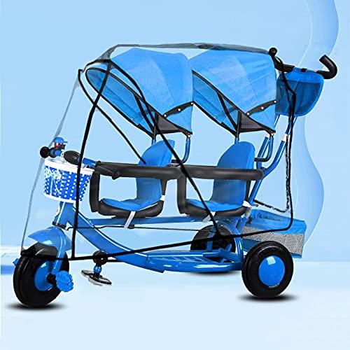 Carretto Pieghevole Carrello Carrello per passeggino gemellare - Doppio triciclo, artefatto da viaggio in bicicletta multifunzionale leggero per neonati e bambini per bambini 0 a 6 anni, facile da smo
