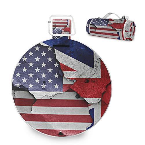 Banderas de Estados Unidos América y Reino Unido Manta grande de picnic al aire libre impermeable práctica esterilla de picnic para la familia Camping Beach Park, redonda 59 pulgadas