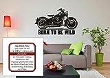 Born To Be Wild con Harley Davidson–pared–Adhesivo Pared Adhesivo, Moto, vinilo, M070 Schwarz, 980 mm x 600 mm
