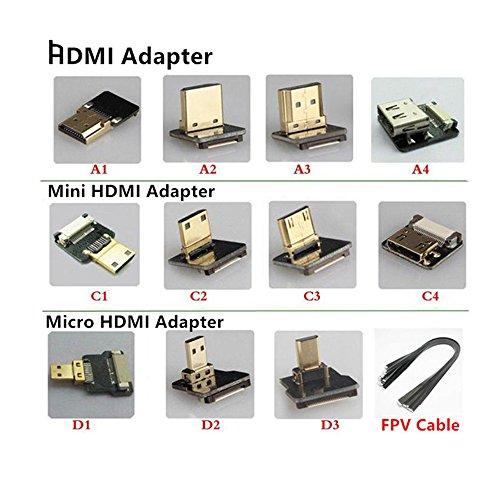 FPV Micro HDMI Mini HDMI Adaptador DE 90 Grados 5cm-100cm FPC Ribbon Flat HDMI Cable Paso 20pin para Fotografía Aérea Multicopter, FPV Cable 50cm