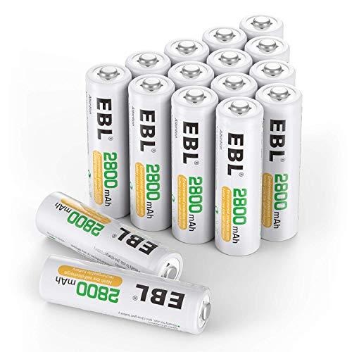 EBL AA Batterie Ricaricabili ad Alta Capacità da 2800mAh Ni-MH,1200 cicli con Auto-Scarica Bassa,Confezione da 16 pezzi