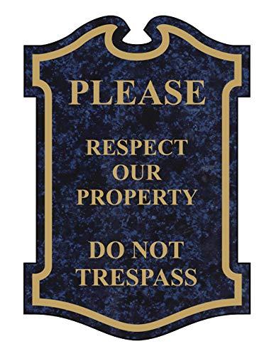 Panneau en métal gravé « No Trespass », avec Inscription en Anglais Bleu céleste 3 * 12in