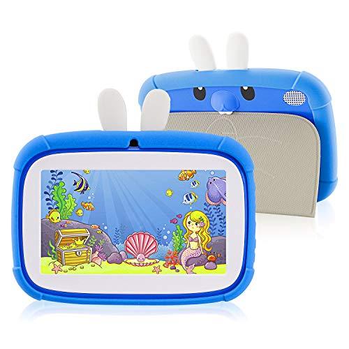 HXwsa Kinder-Tablet 7 Zoll, Android 9.0 Kindersicherung Kindermodus Vorinstallierte WiFi Tablet Lernspiele Kamera IPS HD Display 1 GB + 16 GB mit Kid-Proof-Fall,A