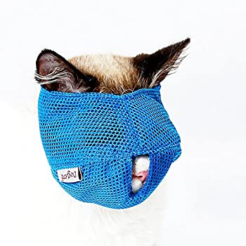 ZOOPOLR Cat Muzzles - Breathable Mesh Muzzles Prevent Cats from Biting and Chewing - Anti Bite Anti Meow  Blue-L