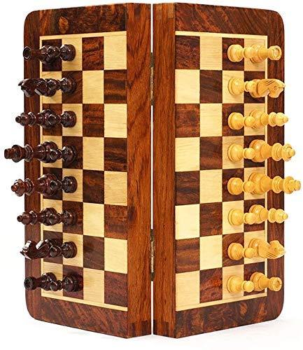 Dpprdl Juego de tablas de ajedrez de madera magnética, juego de mesa plegable portátil, almacenamiento para piezas de madera, juego de viaje (tamaño: 30 cm) (tamaño: 25 cm)