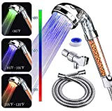 PRUGNA LED Shower Head with Hose and Shower Arm Bracket, High-Pressure Ionic Filter Handheld Shower for Repair Dry Skin and Hair Loss - Color Changes with Water Temperature