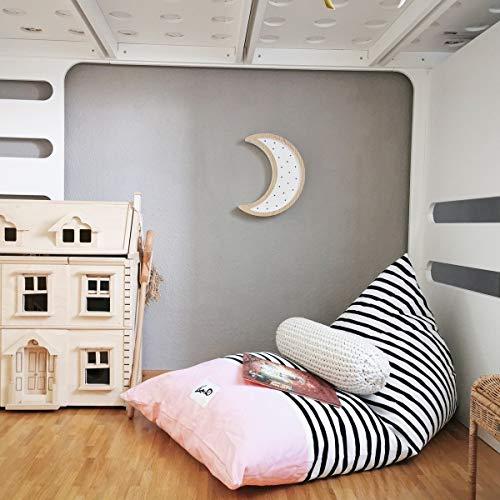 """Liou Sitzsack für Kinder und Erwachsene aus Bio-Baumwolle """"Pink Zebra"""", 110x70x60 cm, Farbe: Rosa (pink) inkl. EPS-Perlen Füllung Premium Qualität (Made in Germany)"""