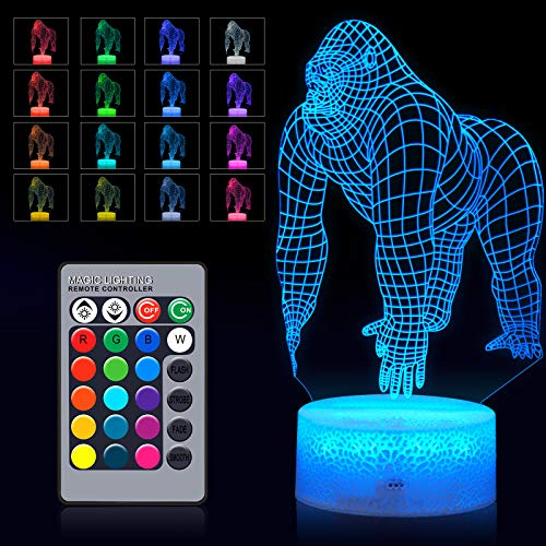 3D Gorilla Night Light 3D Night Lamp LED Color Changing Animal Lamp with Touch and Remote Control in 16 Color Changes for Baby Kid Home Decor Birthday Party (Colorful Series)