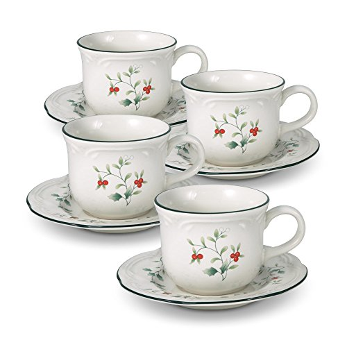 Pfaltzgraff Winterberry Teacup and Saucer (Teacup and Saucer, Set of 4)
