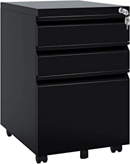 DEVAISE Locking File Cabinet, 3 Drawer Rolling Metal Filing Cabinet, Fully Assembled Except Wheels, Black