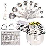 Juego de 20 tazas medidoras y cucharas medidoras de acero inoxidable de grado alimenticio para cocinar y hornear, incluye 7...