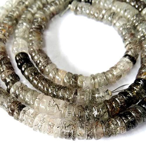 LOVEKUSH LKBEADS Naturliga svarta rutinerade kvarts släta pärlor, heishi-pärlor, 5 mm - 5 mm, 30 cm lång tråd [E1963] rutilerade ädelstenspärlor kod-HIGH-32752