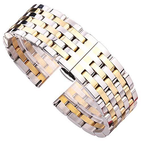 ZXF Correa Reloj, Pulsera de Correa 20 22 mm de Acero Inoxidable sólido para Hombres de la Cabeza Recta del Metal de la Correa de Oro de Plata de Metal Accesorios Pulsera