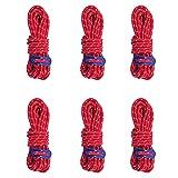 Azarxis Reflektierend Abspannseile Seil mit Einem Aluminiumteller für Tarp Zelt Camping Wandern - 6 Stück (Rot)
