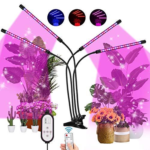 Awroutdoor Pflanzenlampe LED 40W Pflanzenlicht 4 Köpfe Pflanzenleuchte,Wachstumslampe Vollspektrum Wachstumslampe für Zimmerpflanzen mit Zeitschaltuhr 3 Arten von Modus, 9 Arten von Helligkeit