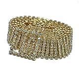 Cinturón Anchos para Mujer con Piedras Brillantes Cinturón de Moda Diamante Artificial Cinturón Decorativo para Vestido (Dorado, 100cm)