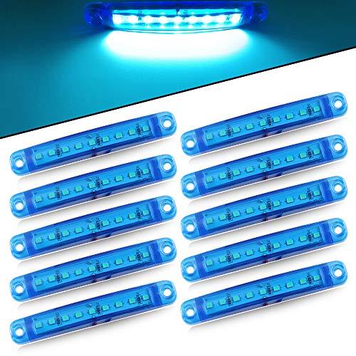 10pcs 9LED 12-24V Súper Brillante Luces de Posición laterales Lámpara - Luz de Posición del Camión -Side Marker Luz de Advertencia del Remolque del Vehículo -Camping Van Remolque Motocicleta(Azul)