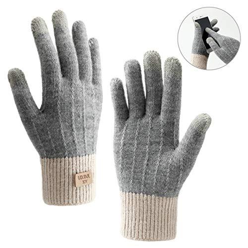 Homealexa Winterhandschuhe Touchscreen Handschuhe Strick Fingerhandschuhe Sport Warm und Winddicht Winterhandschuhe für Skifahren Radfahren und SMS, Geeinget für Damen und Herren (Grau)