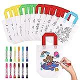 Czemo 12 Pcs Bolsas para Colorear, DIY Graffiti Bolsas con 12 Colores Pluma de Graffiti, Bolsas Chuches, Bolsa Regalo Cumpleaños Infantil, Bolsas para Pintar Niños para Fiestas de Cumpleaños