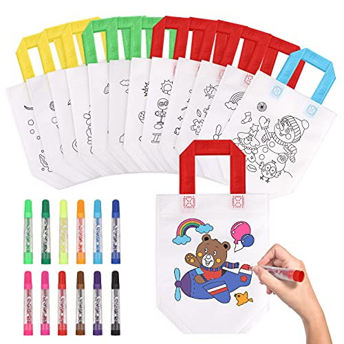 Czemo 12 Pcs DIY Sac de Peinture des Enfants, Sac Cadeau Anniversaire Enfant, Sacs à Main à Colorier & 12 Couleurs Stylo Lavables, DIY Cadeaux de Fête d'anniversaire pour Enfants