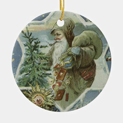 McC538arthy Christmas Santa Hat Ornaments, Vintage Santa Claus Drawing Ceramic Ornament Hanging Ornament Xmas Tree Decor Gifts 3''