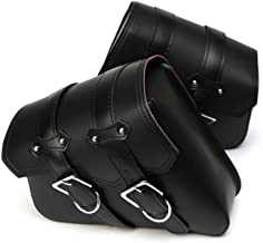 KKmoon Par Alforjas para Moto, Bolsas Laterales para Moto PU Cuero, Bolsas para Equipaje