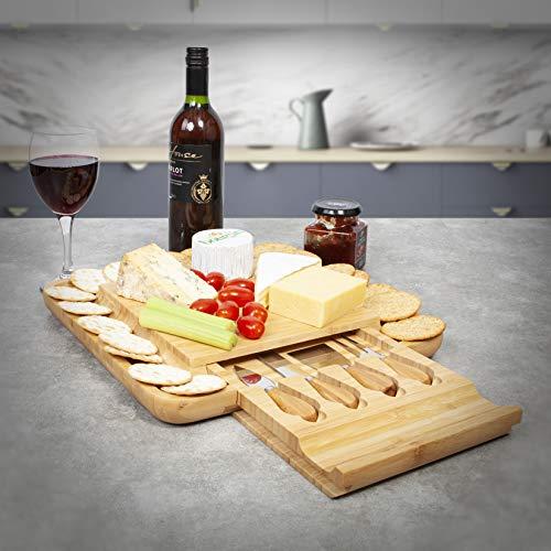 Woodluv - Tagliere da formaggio quadrato in legno espandibile con cassetto integrato e 4 coltelli da formaggio 33 x 33 x 3,8 cm.