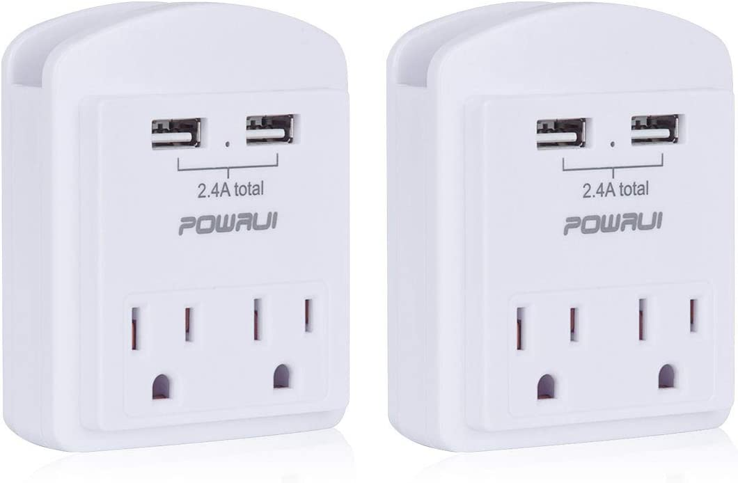 USB Wall Charger, Small Surge Protector, POWRUI USB Outlet with 2 USB Ports (2.4A Total) and Top Phone Holder for Smart Phones, 1080Joules, White (2-Pack), ETL Certified…