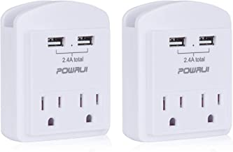 USB Wall Charger, Small Surge Protector, POWRUI USB Outlet with 2 USB Ports (2.4A Total) and Top Phone Holder for Apple, iPhone, iPad, Samsung, 1080Joules, White (2-Pack), ETL Certified