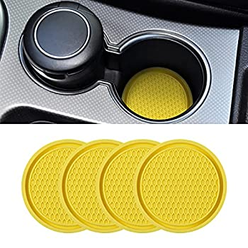 Car Cup Holder Coaster 4 Pack 2.75 Inch Diameter Non-Slip Universal Insert Coaster Durable Suitable for Most Car Interior Car Accessory for Women and Men  Yellow