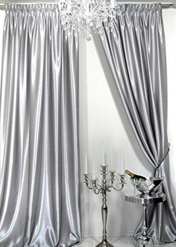 Trendoro Vorhänge, 1 Satin-Vorhang *Silbergrau*. Maße: 150x 260 cm. Schwerer hochwertiger Satin, wirkt sehr edel, ist pflegeleicht & Blickdicht. Ateliergefertigt