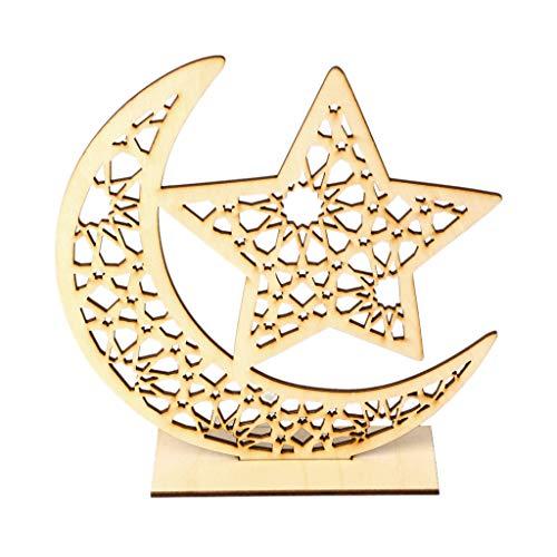 S-TROUBLE Holz Eid Mubarak Muslim Ramadan Mond Sternplatte Anhänger Dekoration Ornament DIY Home Party Supplies