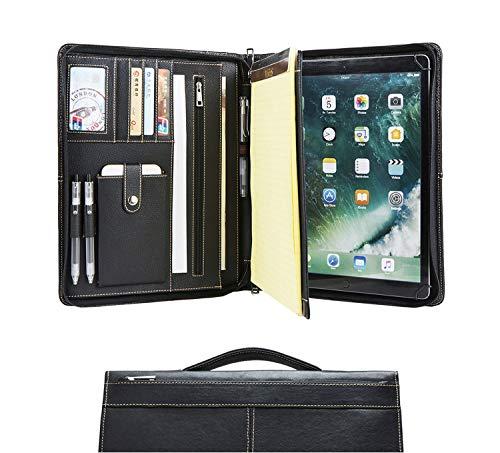 Carpeta de conferencia de cuero hecha a mano con cremallera para iPad Pro 12.9 (2015/2017), carpeta de escritura A4, bolso organizador de carpeta-tableta