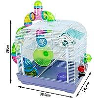 DZL® Jaula para Hamster(29.5X29.5X38CM) Color Azul/Purpura/Rojo se Entrega al Azar,Aviso Importante: el metacrilato Lleva un Protector de Papel Que se Quita!