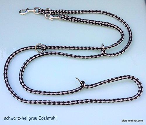 elropet Hundeleine Edelstahlbeschläge Doppelleine 2,80m 4fach verstellbar schwarz-grau-grau